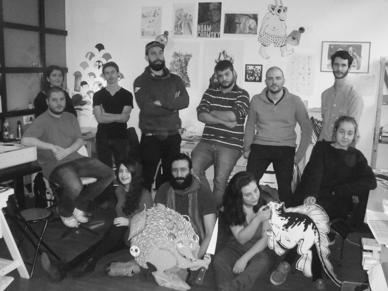 photo groupe atelier Millefeuille membres illustrateurs bédéistes lyon